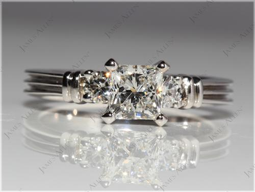 White Gold  Engagement Rings With Sidestones