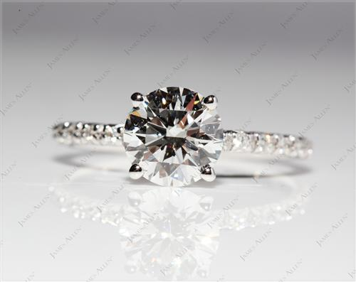 White Gold 1.41 Round cut Pave Engagement Rings