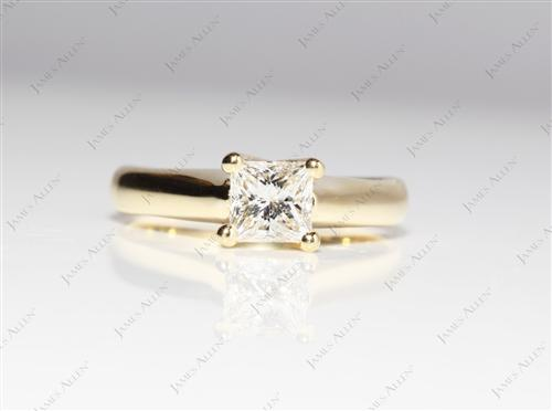 Gold 0.59 Princess cut Round Solitaire Ring