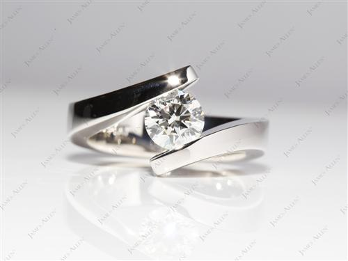 Platinum 1.03 Round cut Tension Set Engagement Rings
