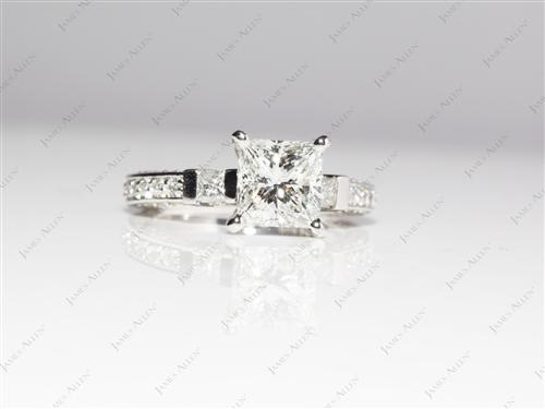 Platinum 1.64 Princess cut Engagement Rings