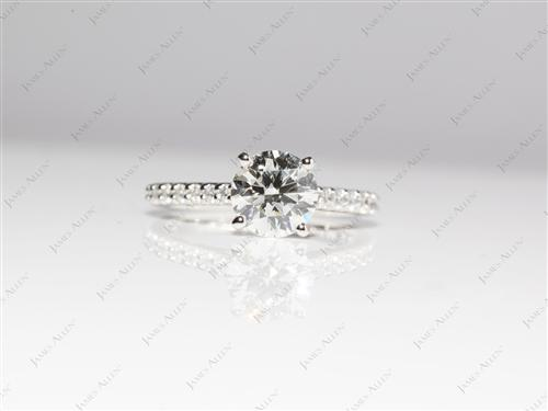 Platinum 1.24 Round cut Princess Cut Engagement Rings With Side Stones