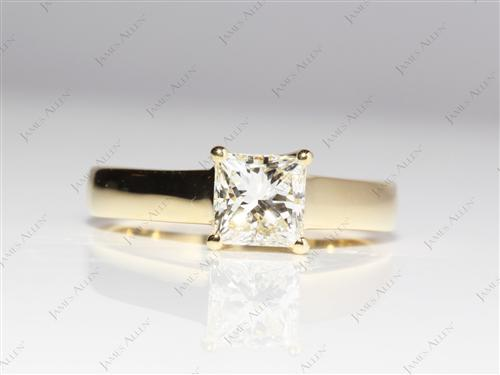 Gold 1.03 Princess cut Solitaire Diamond Rings
