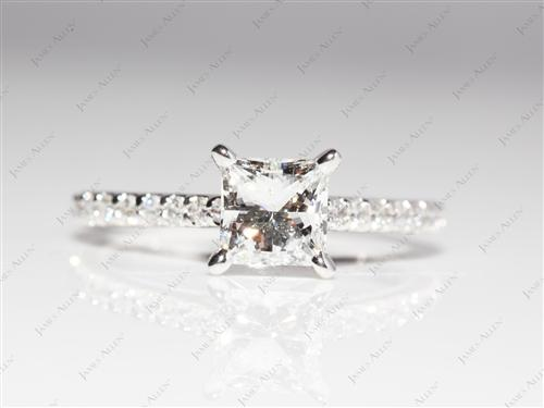White Gold 0.92 Princess cut Engagement Rings With Sidestones