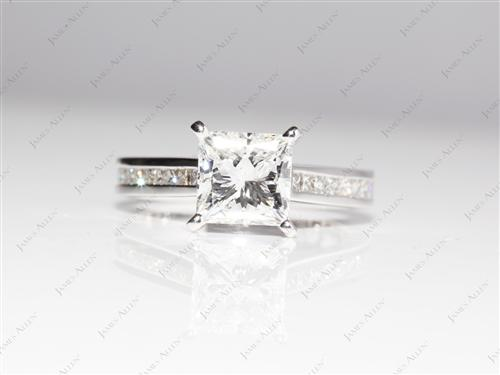 White Gold 2.01 Princess cut Channel Engagement Rings