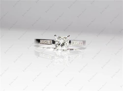 White Gold 0.78 Princess cut Channel Diamond Ring