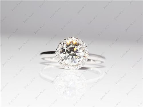 White Gold 1.25 Round cut Engagement Rings Pave