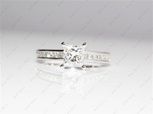 White Gold 1.03 Princess cut Channel Set Diamond Engagement Rings