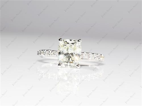 White Gold 2.14 Cushion cut Pave Ring Setting