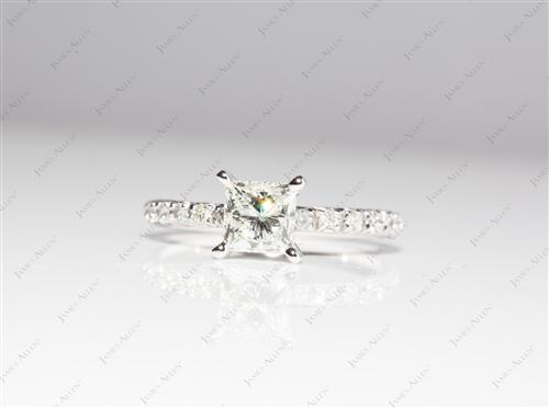 White Gold 1.01 Princess cut Engagement Rings Pave