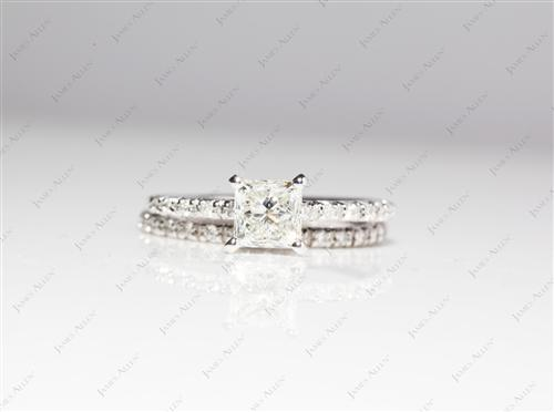 White Gold 0.86 Princess cut Bridal Set Wedding Rings