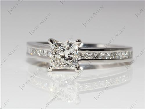 Platinum 0.93 Princess cut Channel Setting Engagement Ring