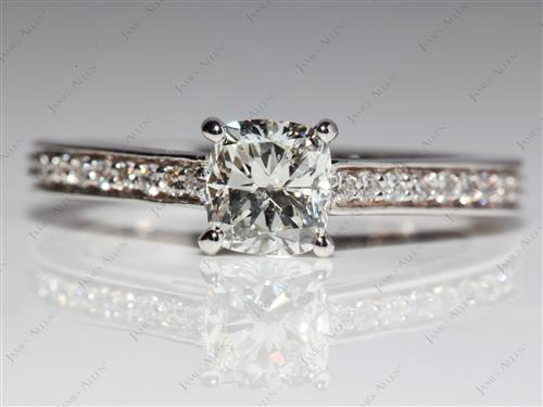 White Gold 0.70 Cushion cut Diamond Rings