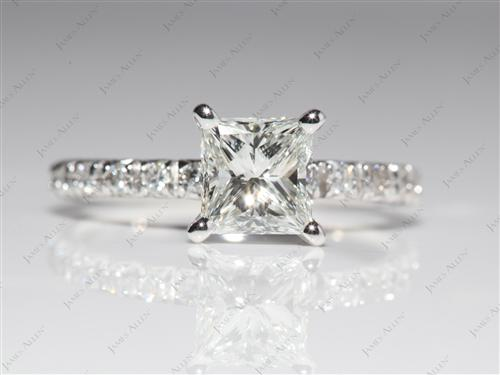 Platinum 1.05 Princess cut Engagement Ring Micro Pave