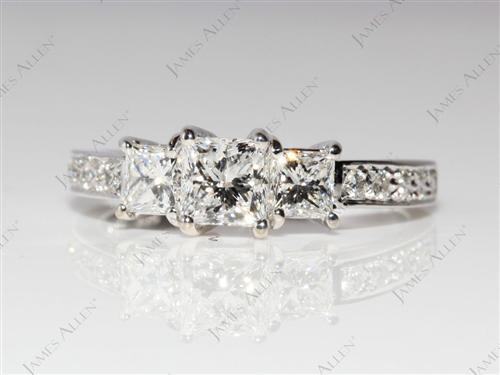 White Gold 0.59 Princess cut Side Stone Engagement Ring