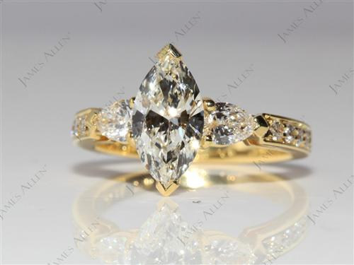 Gold 1.09 Marquise cut Engagement Ring