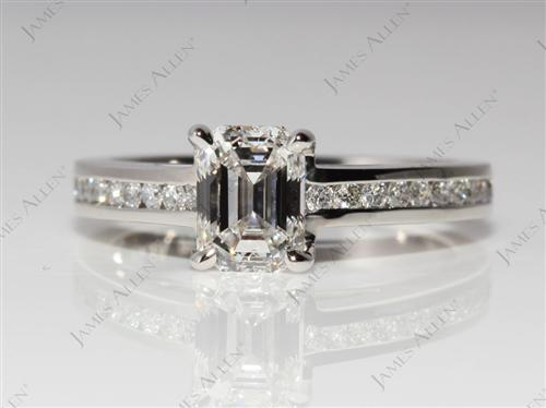 Platinum 1.11 Emerald cut Channel Setting Ring