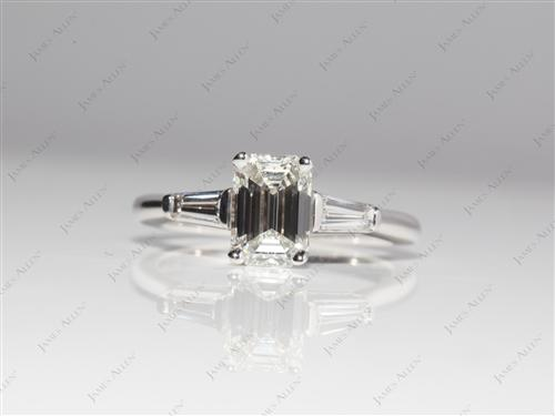 White Gold 1.30 Emerald cut Engagement Ring Side Stones