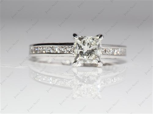 White Gold 0.95 Princess cut Channel Set Engagement Ring