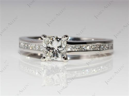 Platinum 0.71 Princess cut Channel Set Diamond Ring