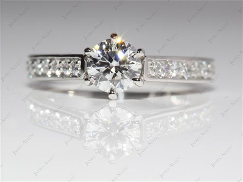 Platinum 0.73 Round cut Engagement Ring Micro Pave
