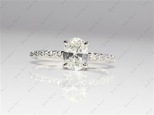 Platinum 1.03 Oval cut Pave Diamond Rings