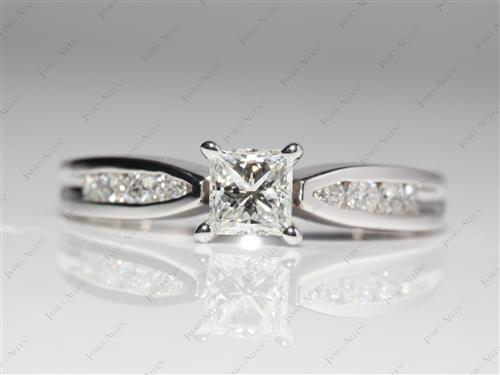 White Gold 0.51 Princess cut Channel Set Diamond Engagement Rings