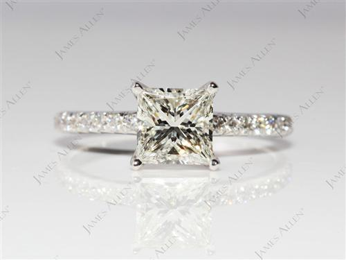 White Gold 1.21 Princess cut Engagement Ring