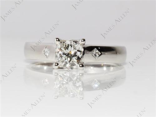 Platinum 0.81 Princess cut Solitaire Diamond Ring