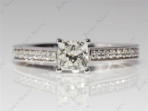 White Gold 0.55 Princess cut Engagement Rings