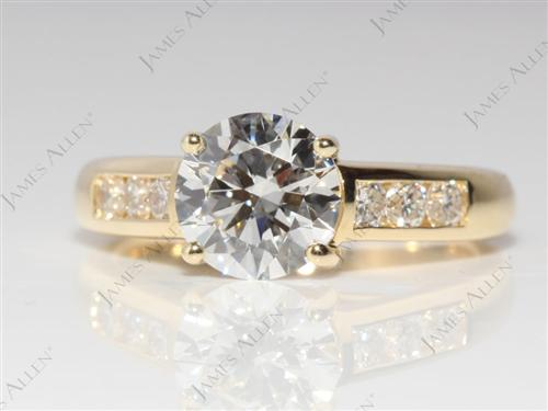 Gold 1.34 Round cut Channel Set Diamond Rings