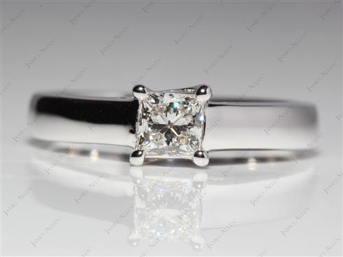 White Gold 0.50 Princess cut Solitaire Rings