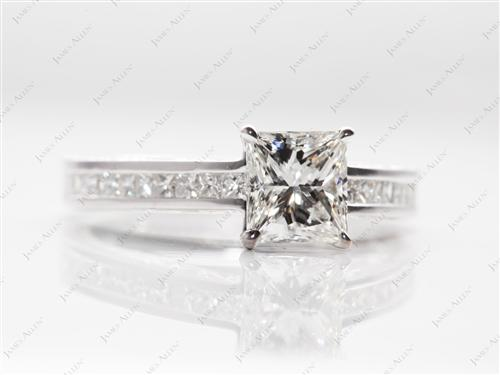 White Gold 1.12 Princess cut Channel Set Engagement Rings
