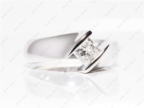 White Gold 0.80 Princess cut Tension Diamond Engagement ring