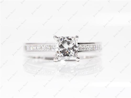 White Gold 1.02 Princess cut Channel Setting Engagement Ring