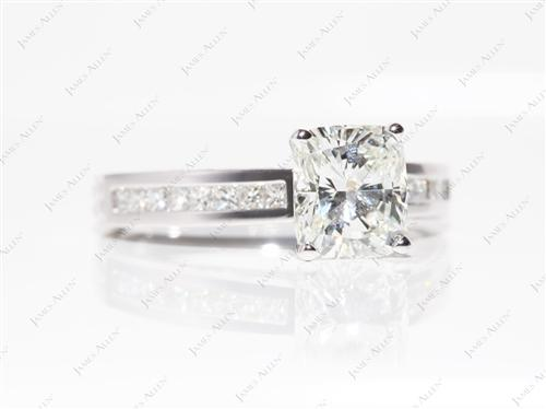 Platinum 2.06 Cushion cut White Gold Wedding Sets