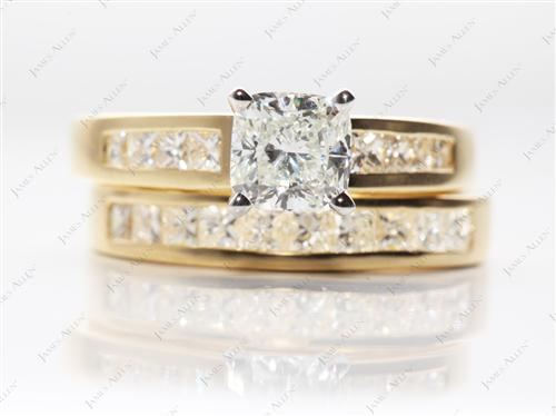 Gold 1.03 Cushion cut Matching Wedding Sets