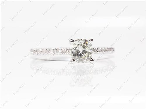 White Gold 0.78 Cushion cut Pave Diamond Ring