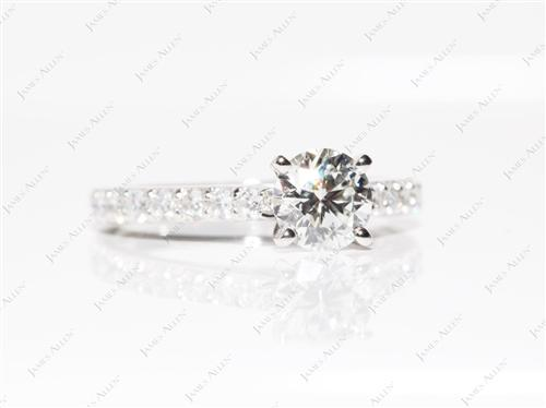 Platinum 0.84 Round cut Diamond Ring With Side Stones