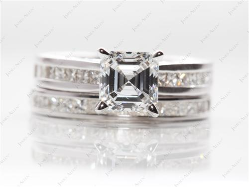 White Gold 1.50 Asscher cut Wedding Band Sets