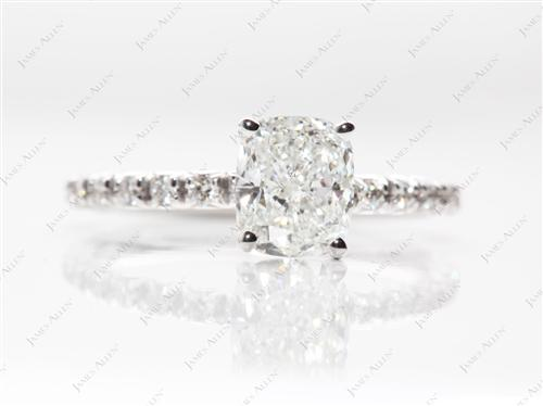 White Gold 1.52 Cushion cut Engagement Rings Pave