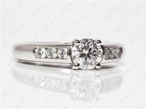 Platinum 0.70 Round cut Channel Set Diamond Ring