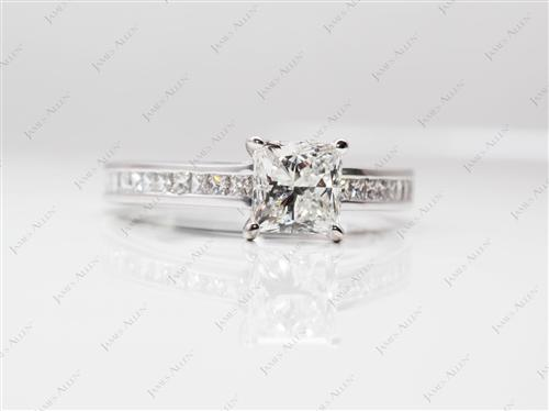 White Gold 1.05 Princess cut Channel Set Diamond Band