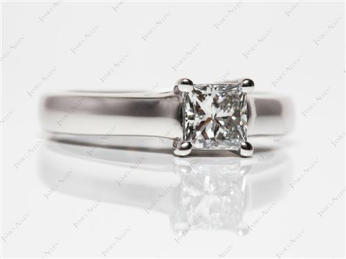 Platinum 0.70 Princess cut Solitaire Engagement Ring