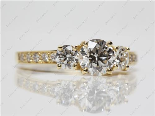 Gold 1.02 Round cut Side Stone Engagement Ring