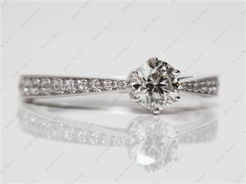 White Gold 0.51 Round cut Pave Setting Rings