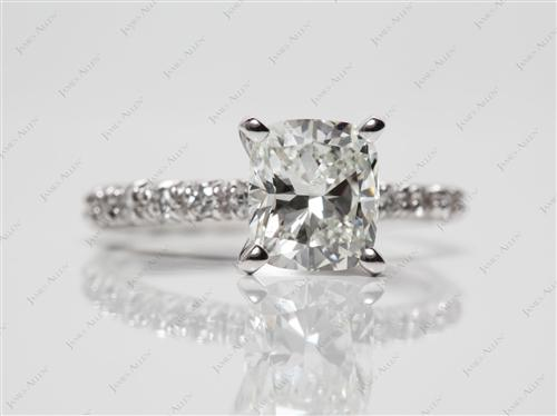 Platinum 1.50 Cushion cut Engagement Ring