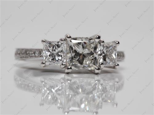 White Gold 1.03 Princess cut Engagement Ring Settings With Side Stones
