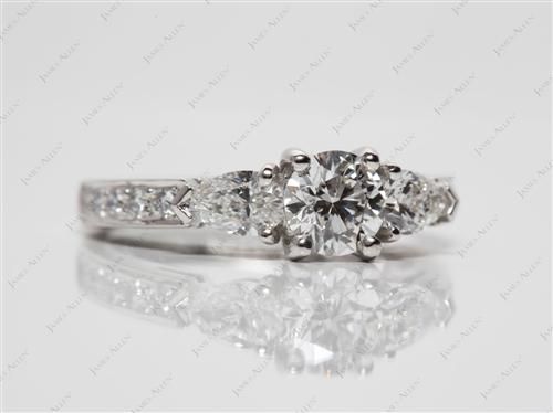 Platinum 0.51 Round cut Engagement Rings With Sidestones