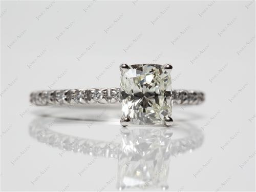 Platinum 1.18 Cushion cut Micro Pave Rings
